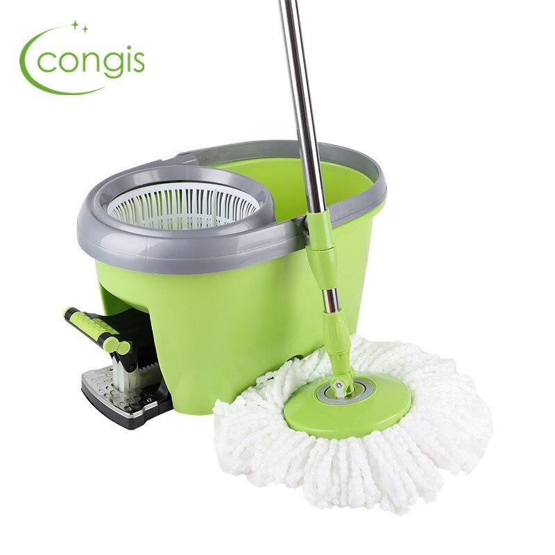 Congis 1 шт. четыре привода вращающаяся Швабра 360 градусов педаль Автоматическая Рука давление обезвоживание сухой Швабра дома чистящие средст...