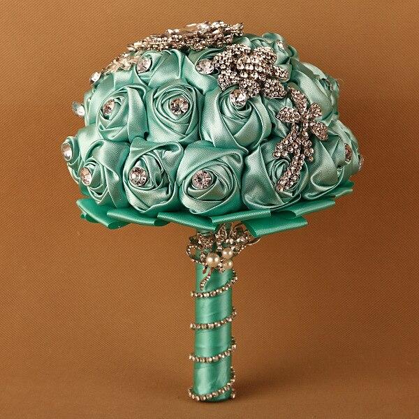 1 pc/lot tiffany mariage fleur bouquets fleur bleu roi mariée broche bouquet cristal bouquet de mariage