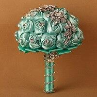 1pc/lot tiffany wedding flower bouquets fleur bleu roi bridal brooch bouquet crystal bouquet de mariage