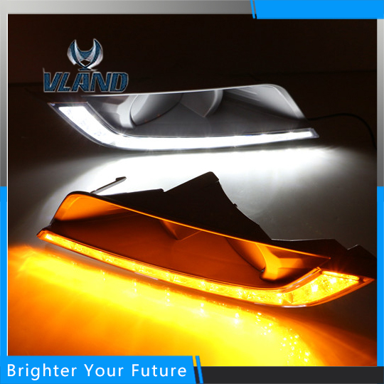 Car Accessories Waterproof Daytime Running Fog Light Lamp DRL Yellow Turn Signals for Ford Ranger 2015-2016 car accessories waterproof daytime running fog light lamp drl yellow turn signals for mazda 3 axela 2013 2016