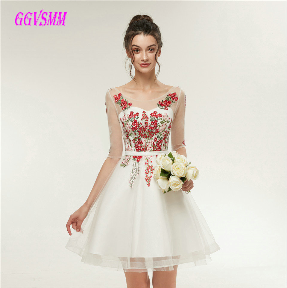 Sexy Ivory   Prom     Dresses   Short 2018   Prom     Dress   Scoop Tulle Appliques Lace Up Knee-Length Women Graduation Party Gown Real Photos