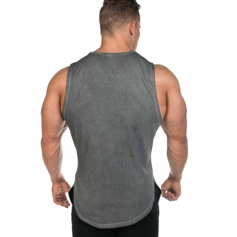 남성 보디 빌딩 탱크 탑 체육관 피트니스 운동 코튼 민소매 조끼 의류 남성 캐주얼 패션 슬링 언더 셔츠