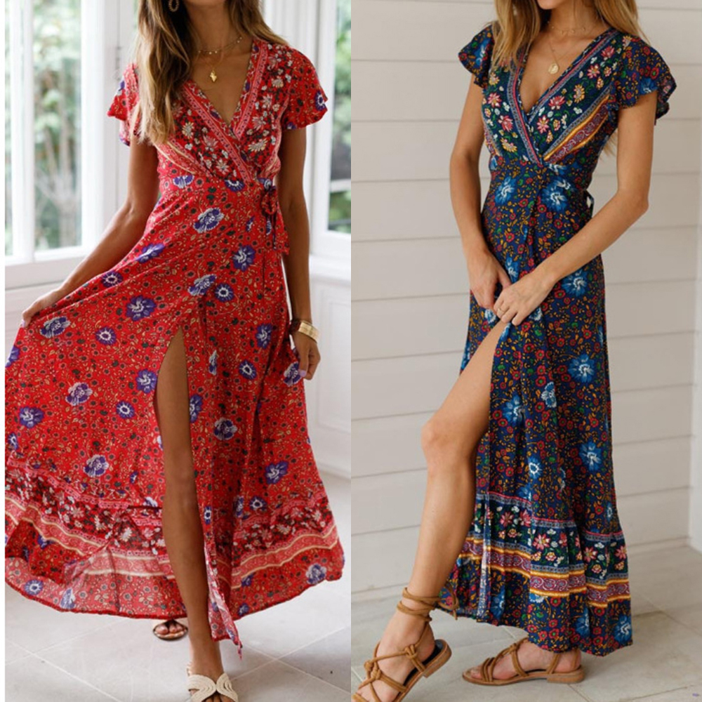 Цветочный принт Макси платье женское богемное вечернее платье летнее платье пляжное повседневное длинное сарафан с оборками с коротким ру...