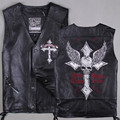 2017 Men Black Genuine Leather Motorcycle Vest Cross Skull Embroidery Real Cowhide Slim Fit Shor Men Biker Vest FREE SHIPPING
