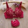 [Quecoo]Winter new girl sweet bra sexy adjustment lace edge insert thickening without rim bra set  women's underwear