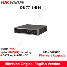 In stock Hikvision DS-7716NI-I4 original English H.265 16CH NVR with 4 SATA no POE,HDMI up to 4K alarm Recording up to 12MP