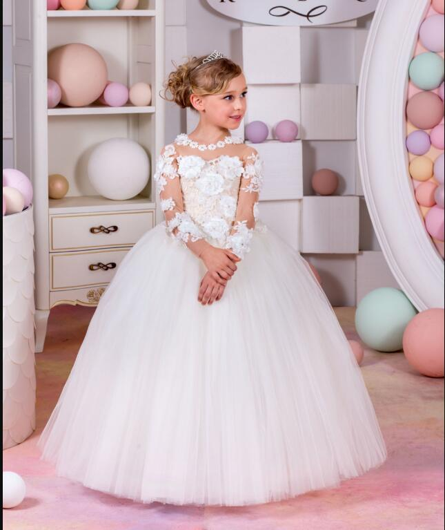New Hot White Lace Appliques Flower Girls Dresses Long Sleeve Girls First Communion Dress Baby Princess Dress Ball Gown white lace girls first communion dress ball gown birthday dress half sleeve long princess flower girls dresses for wedding