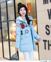 2016 зимняя куртка женщины военной печати парки duck down loose fit пальто средней длины pathchwork плюс размер пальто snowear
