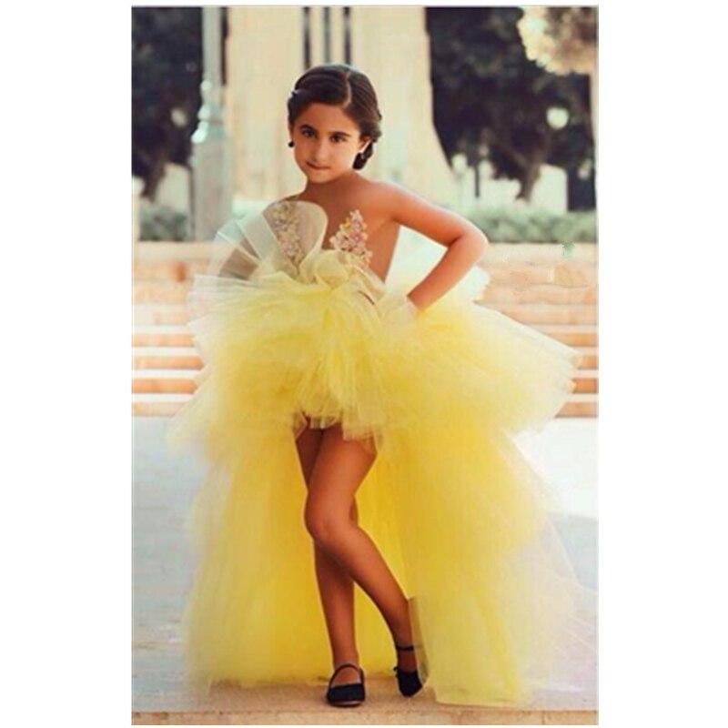 Lovable Little   Girls   Pageant   Dress   Short Front Long Back Vestidos De Comunion 2015 FG-45 Ligth Yellow Fancy   Flower     Girl     Dresses