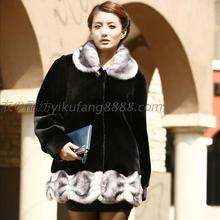 Autumn and winter quinquagenarian women's mother clothing imitation mink marten velvet faux overcoat leather coat plus size