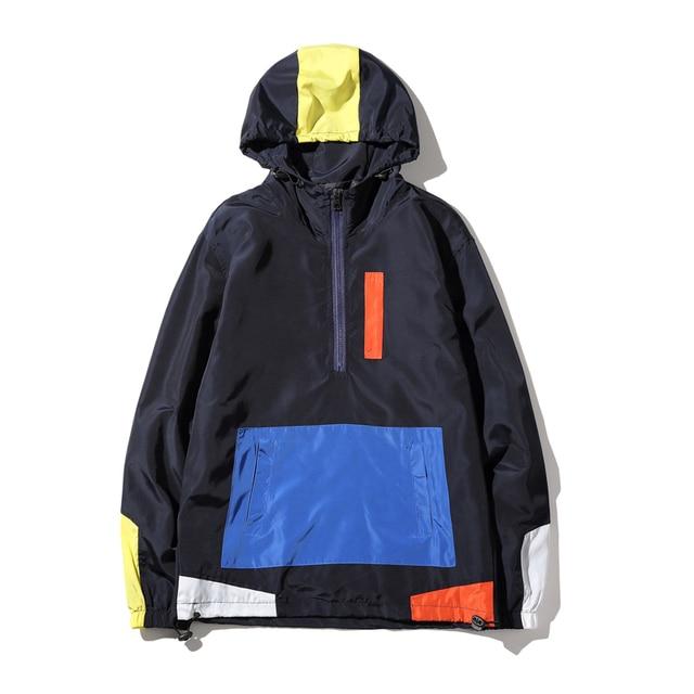 New Autumn Japan Style Hoodies Men Fashion 2016 Loose Pullovers Men Patchwork Color Plus Size Tracksuit Windbreaker Male 5XL-M