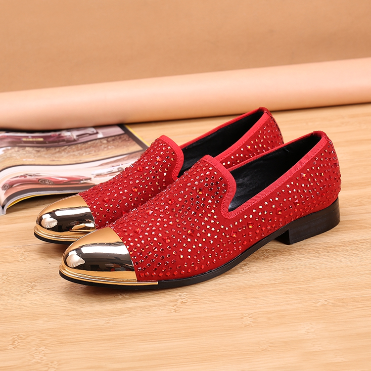 ddbd83a7c35d New Handmade two color rhinestone men suede loafers party and wedding men  shoes men s flats red purple slip on top quality flat