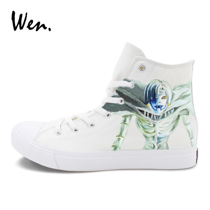 Wen White Sneakers Hand Painted Canvas Shoes Anime Death Note Ryuuku Rem Custom Design Graffiti Shoes Skateboarding Sport