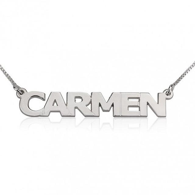 Plata de ley 925 collar con nombre personalizado collar personalizado collar placa de identificación personalizada de regalo