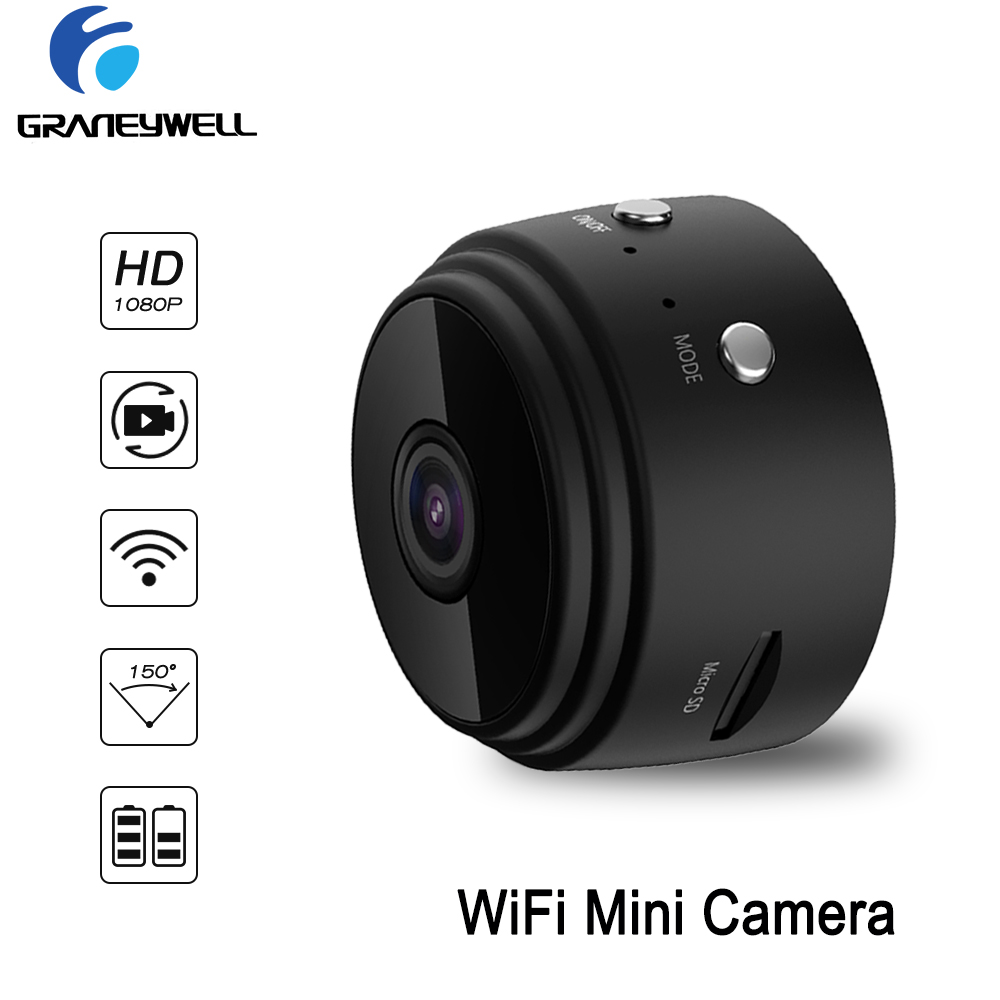 $34.44 WiFi  Mini Camera 1080P Security Camera Indoor Small Camera Built-in Battery Chargeable Night Vision for iPhone Android PC iPad