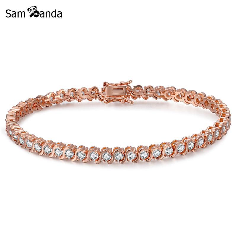 e61e181b1 US $11.95 45% OFF|New Tennis Bracelet For Women Men Cubic Zirconia Shine  Rose Gold Color Bracelets & Bangles Charm Femme Wedding Fine Jewelry-in  Chain ...