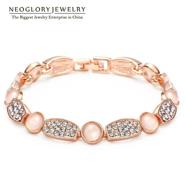 Neoglory Austrian Rhinestone Glass Rose Gold Plated Bangles & Bracelets for Women Jewelry Bijoux 2017 Brand New Arrival QC