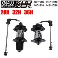 Koozer Hubs 4 Bearing MTB Mountain Bike Hub Rear 10*135mm QR100*15 12*142mm Thru 28/32/36 Holes Disc Brake Bicycle Hub XM490