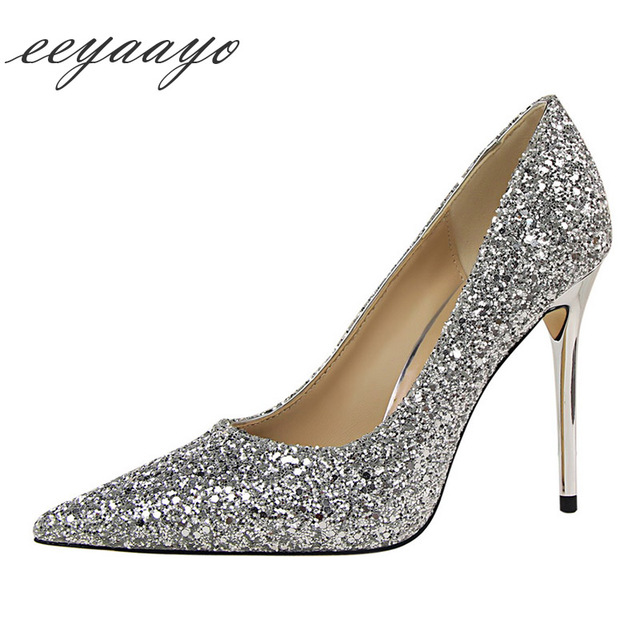2019 New Spring/Autumn Women Pumps High Thin Heel Pointed Toe Shallow Sexy Bling Bridal Wedding Women Shoes Silver High Heels