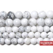"""Натуральный камень белый бирюзовый говлит круглые бусины 1"""" нить 3 4 6 8 10 12 мм выбрать размер для ювелирных изделий"""