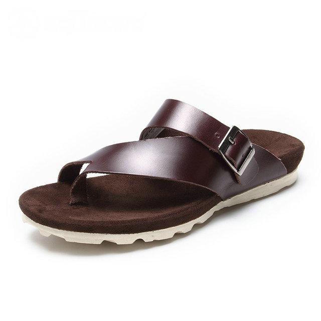 2016 AQUATWO Nuevos Hombres Zapatillas de Cuero de Verano Transpirable de Alta Calidad Marrón Negro de Marca Para Hombre Sandalias US4.5-8 # Venta Caliente Zapatos hombres