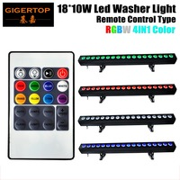 TIPTOP 4XLOT 18x10W RGBW LED Light Under Cabinet 100cm Strip 4IN1 Wall Washer Accent Lighting Indoor DMX 8CH Wireless Control