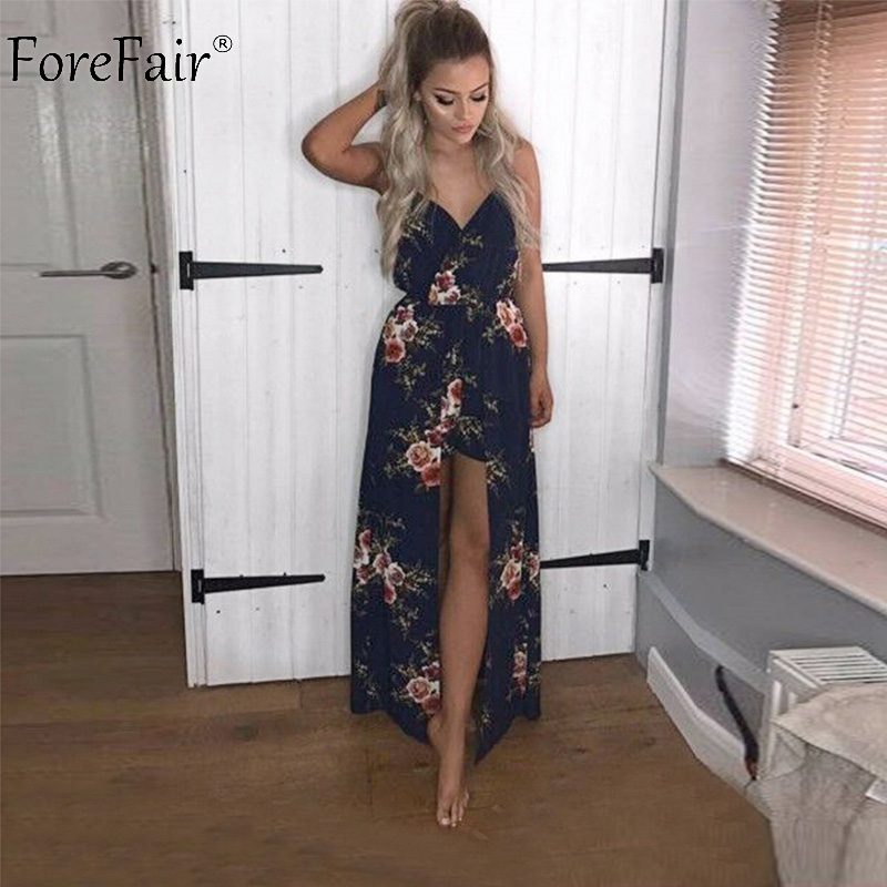 ForeFair Sexy V-neck Women Maxi Rompers Plus Size Female Blue Khaki Split Jumpsuits Summer Boho Long Playsuits 1