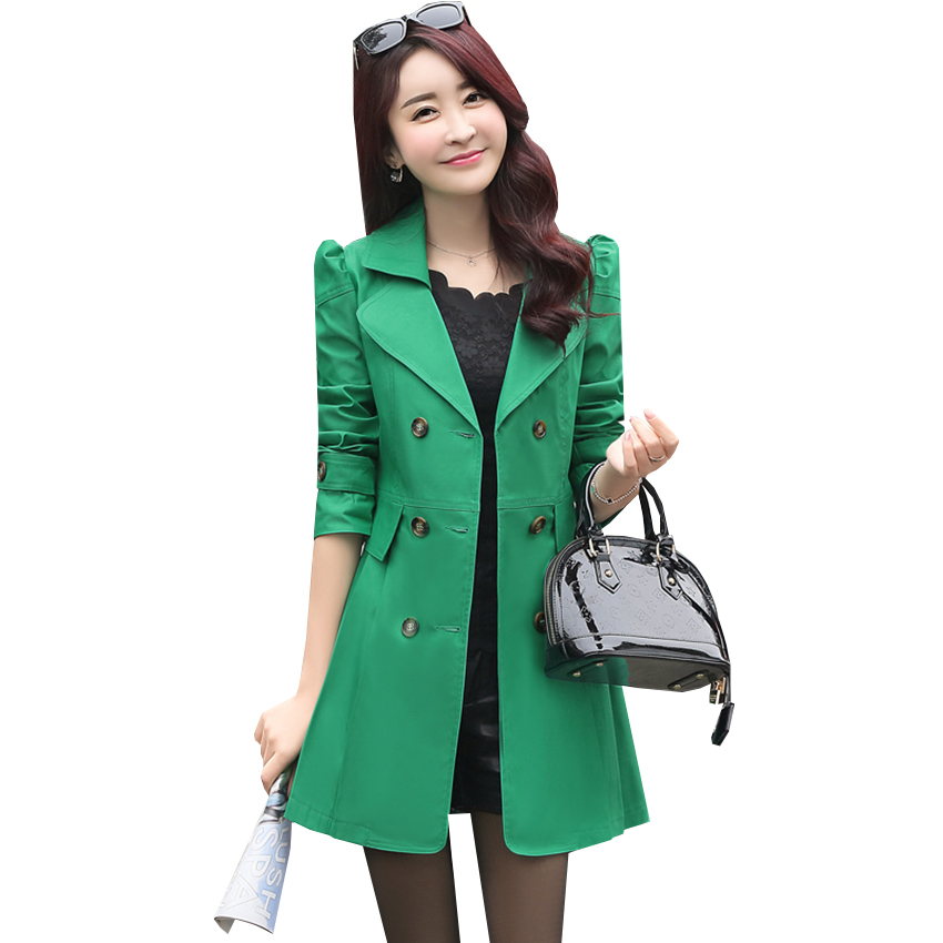 dd5bf32730a New Spring Autumn Double Breasted Long Trench Outwear Fashion Women Trench  Coat Ladies Casual Slim Windbreaker