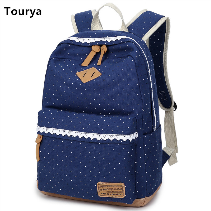 Tourya Vintage Canvas Women Backpack Cute School Bags For Teenagers Girls Dot Printing Female Schoolbag Laptop Bagpack Mochila tourya vintage canvas women backpack school bags schoolbag for teenagers girls floral printing travel laptop bagpack mochila