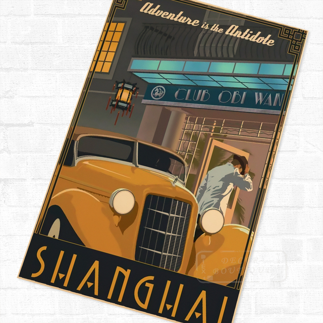 Pop Art Welcome to Shanghai China Vintage Retro Travel Kraft Poster  Decorative DIY Wall Canvas Sticker