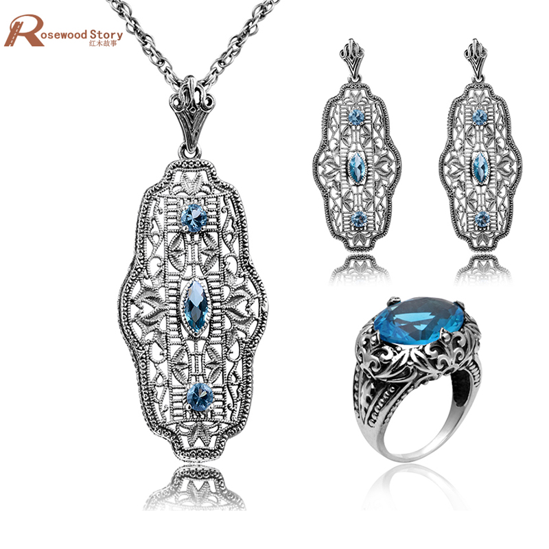 Bridal Wedding Jewelry Set for Women Earrings Pendant 925 Silver Jewelry Set Blue CZ Rhinestone Crystal Accessories Bijouterie ethiopian wedding jewelry sets blue rhinestone crystal for women 925 sterling silver earrings ring pendant bridal jewelry set