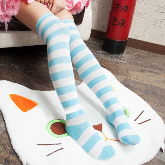 Kawaii Japanese Anime Overknee Cosplay Stocking Meias Lolita Tights Thigh High Striped Stockings Blue & White On Sale