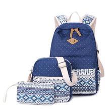 3pcs/set Preppy Stylish Canvas Printing Backpack Women School Bags for Teenage Girls Cute Black Set Travel Backpacks Female Bag