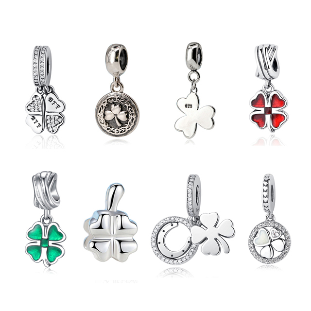 15ffab8b9 2017 100% S925 Sterling Silver Best Friends Forever Four-Leaf Clover Dangle  Charm Pendant Bead Fit Pandora For Women Bracelets
