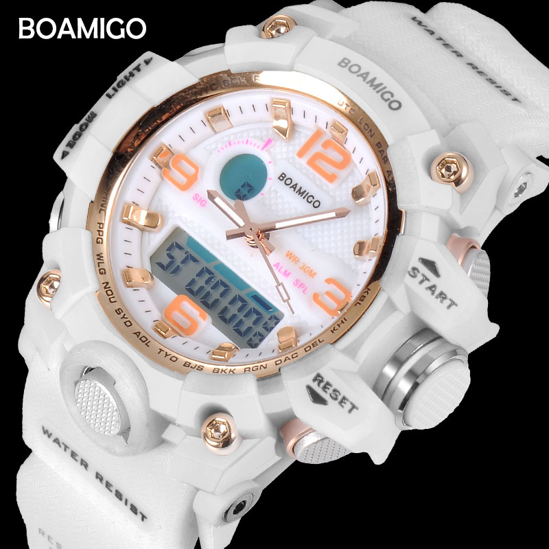 BOAMIGO Brand Watches Women Sports Watches Fashion Ladies Quartz Wrist Watches White Swim Digital Shock Clock Relogio Feminino
