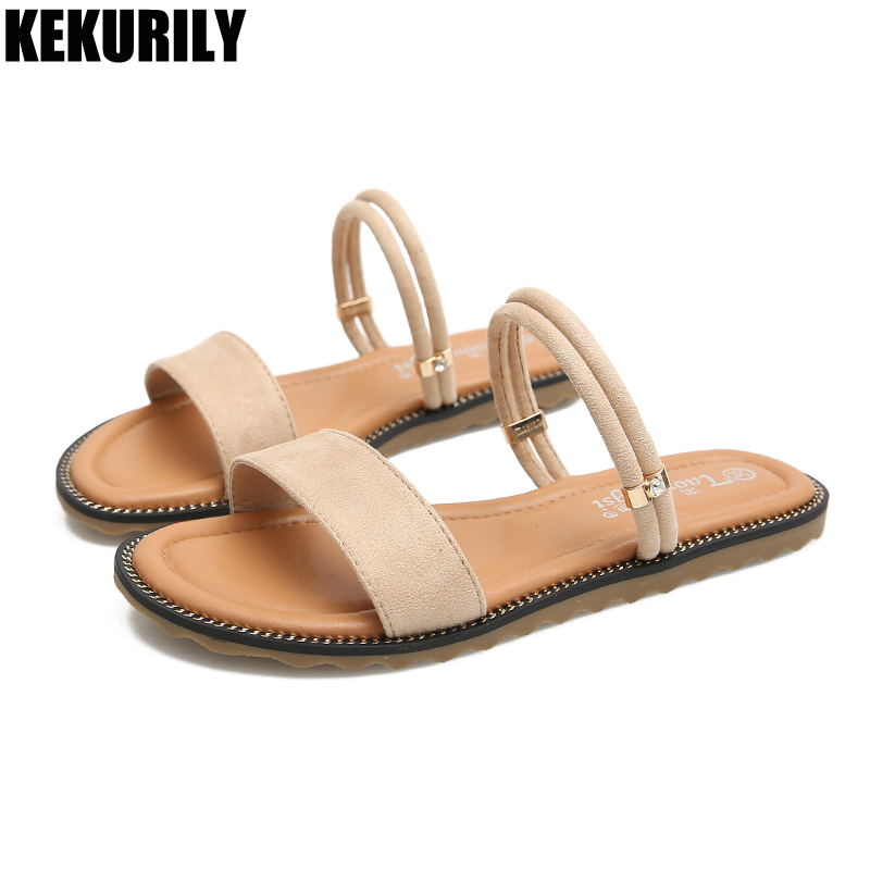 Beach Slippers Flats Shoes Woman Plus Size Slides Casual Mules Ladies Sandals Summer Zapatos De Mujer Black Army Green Apricot