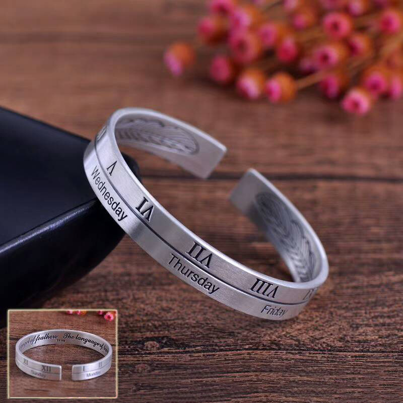 Antique Retro Sterling Silver Cuff Bangle & Bracelet Male Female Couple Rome Numberal Opening S999 Silver Bracelet бижутерия mr safina s999