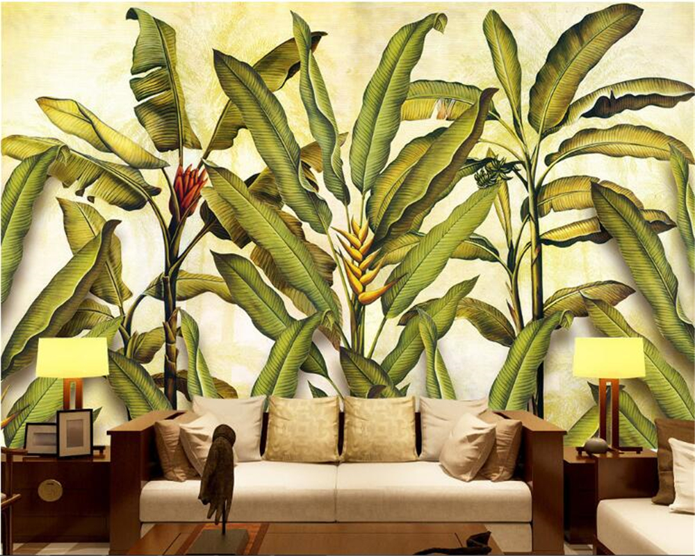 beibehang Classic Pastoral Wallpaper European Retro Hand Painted Rainforest Plants Banana Leaf Background Walls 3d wallpaper