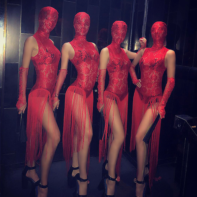 Lace Sexy Gogo Costume Female Red Tassel Chinese Bar Dancing Evening Ds Costumes New Nightclub Bodysuit