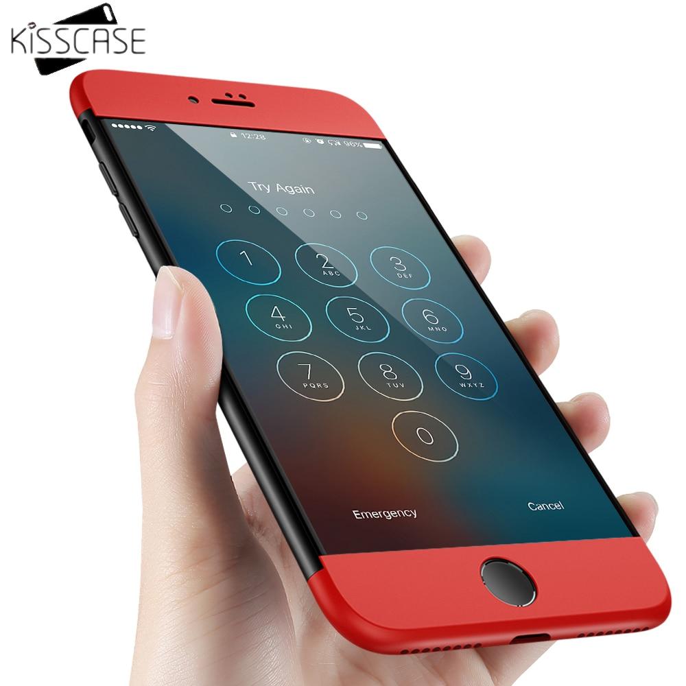 KISSCASE 360 Degree Coverage Cases For iphone 7 5 5s 6 6s SE 7 Plus Case 3 in 1 Combo Hybrid Matte Hit Color Slim Plastic Case