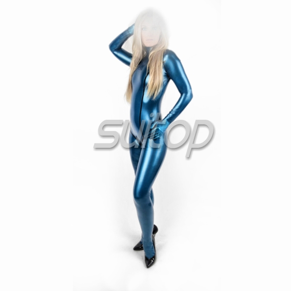 Suitop latex catsuit sexy jumpsuit with body line including socks and latex gloves