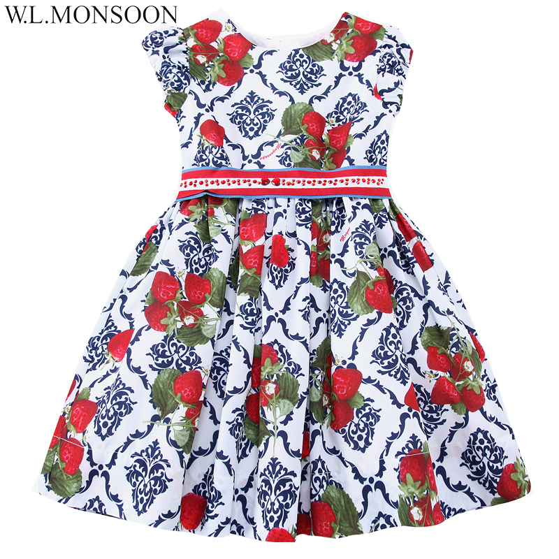 W.L.MONSOON Girls Dress Summer 2017 Brand Princess Dress Children Costumes Strawberries Print Clothes Kids Dresses with Sashes платок в полоску флуоресцентный