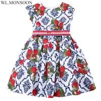 W L MONSOON Girls Dress Summer 2017 Brand Princess Dress Children Costumes Strawberries Print Clothes Kids