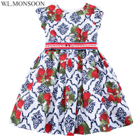 W L MONSOON Girls Dress Summer 2017 Brand Princess Dress Children Costumes Strawberries Print Clothes Kids