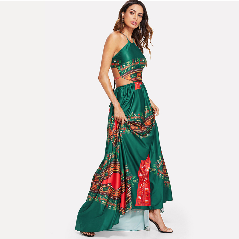 COLROVIE Green Elegant Backless Geometric Ornate Print Cut Out Halter Summer Women Maxi Dress 2018 Sexy High Waist Beach Dress 8