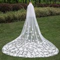 2017 New 3 Meter Long Bridal Veils Appliques Lace Edge White Ivory Upscale Catherdal Wedding Veil Accessories Free Shipping
