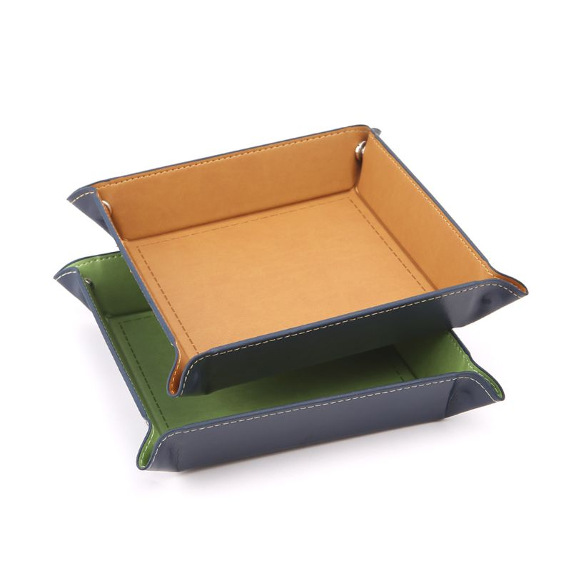 Foldable Desktop Storage Box PU Leather Quadrilateral Tray DND Dice Key Coin Box