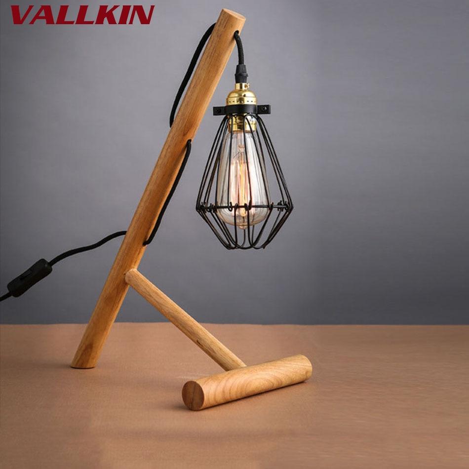 Retro Coffee Shop Table Lamp Wood Vintage Iron Desk Lamp 40W Edison Bulb 110V 220V Study Bar Table Desk Light Wooden Lighting стоимость