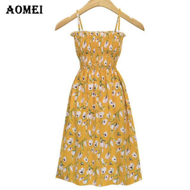Women Tube Cami Dress Pleated Backless Yellow Dress Floral Elegant Midi Dresses  Summer Cute Girl Robes ac895161f5da