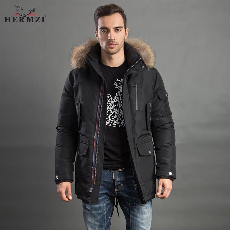 HERMZI 2019 Men Winter Jacket Fashion Coat Parka Thicken Overcoat Detachable Hood Raccoon Fur Collar European Size Plus Size 4XL-in Parkas from Men's Clothing    1